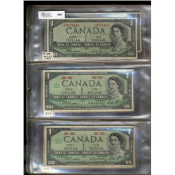 Bank  of Canada; 1 Dollars 1967 notes, lot of 23 circulated VG to UNC notes.