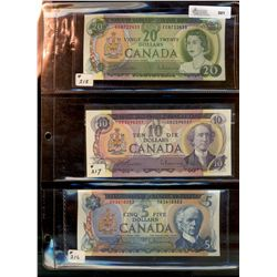 Bank of Canada; 5 Dollars 1972, 10 Dollars 1971 and 20 Dollars 1969.  Lot of 3 notes EF to UNC.
