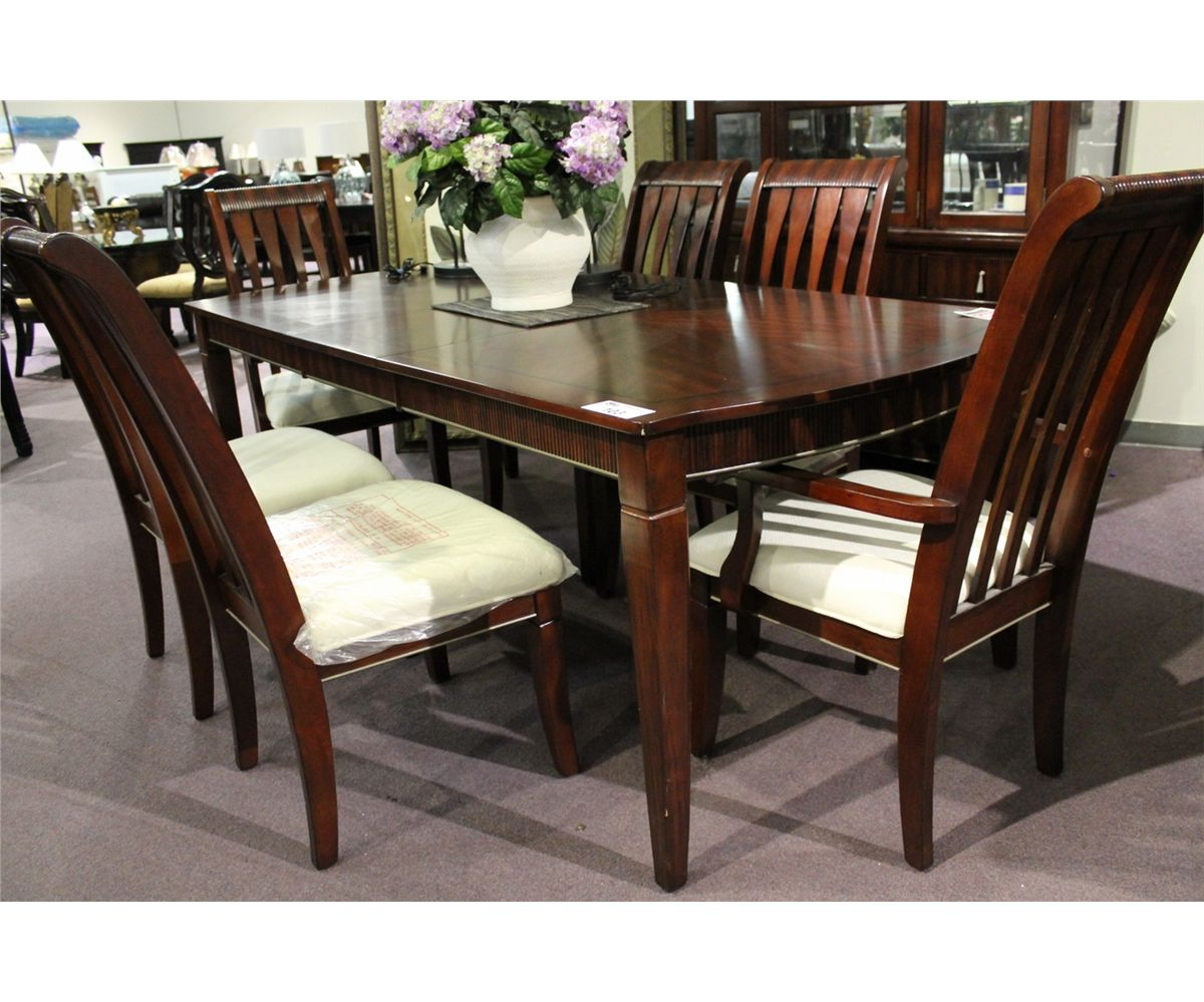 Dark wood inlayed formal dining room table with leaf 6 for Dark wood dining room table