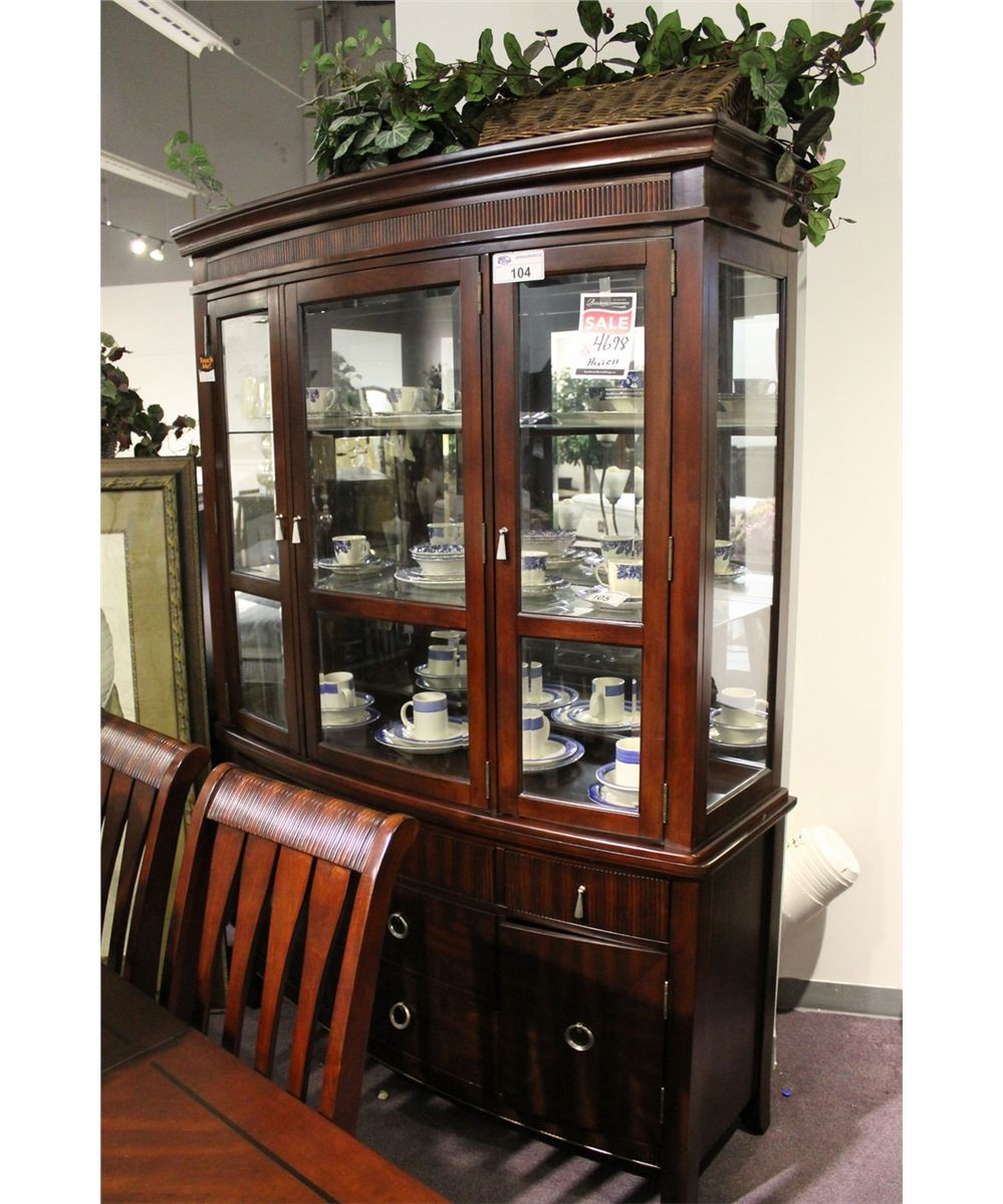 Dark Wood Buffet ~ Dark wood glass door hutch buffet