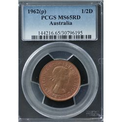 1962 Halfpenny PCGS MS 65 Red