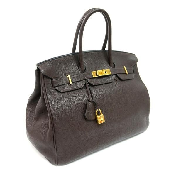 authentic vintage hermes 35cm birkin bag in chocolate clemence leather with gold hardware. Black Bedroom Furniture Sets. Home Design Ideas