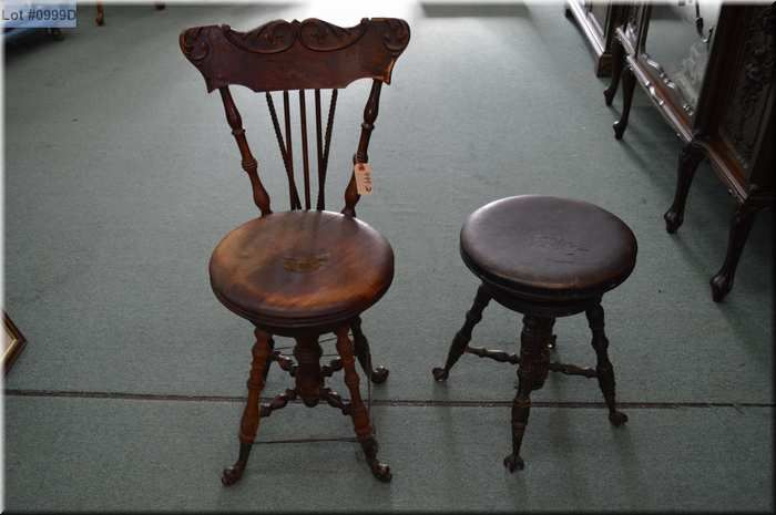 Image 1 : Lot of Two Items : Antique Wooden Piano Chair w/cast iron - Lot Of Two Items : Antique Wooden Piano Chair W/cast Iron Claw Feet
