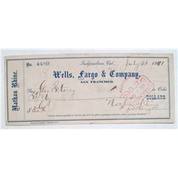 Independence Wells Fargo check