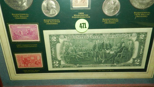 Framed coin collection titled \