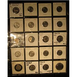 540. Plastic Coin Sheet with (20) Jefferson Nickels from BU to Proof. Includes a 1938 D, which trend