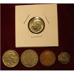 549. 1853 U.S. Three Cent Silver (bent); 1907 Liberty Nickel VG; 1910 P Lincoln Cent G-4; 1930 P Buf