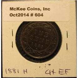 604. 1881 H Canada Large Cent. Choice EF.