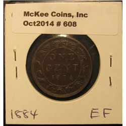 608. 1884 Canada Large Cent. EF.
