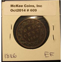 609. 1886 Canada Large Cent. EF.