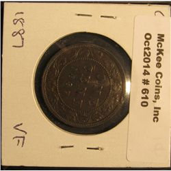 610. 1887 Canada Large Cent. VF.