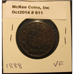 611. 1888 Canada Large Cent. VF.