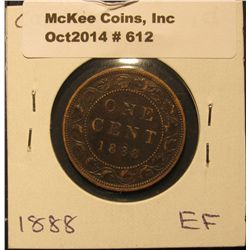 612. 1888 Canada Large Cent. EF.