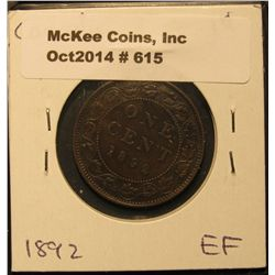 615. 1892 Canada Large Cent. EF.