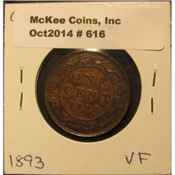 616. 1893 Canada Large Cent. VF.