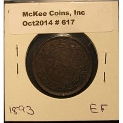 617. 1893 Canada Large Cent. EF.