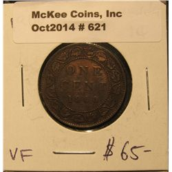 621. 1900 Canada Large Cent. VF.