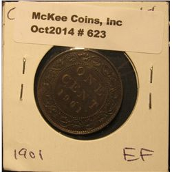 623. 1901 Canada Large Cent. EF.