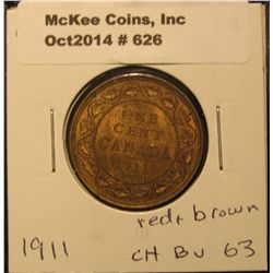 626. 1911 Canada Large Cent. CH BU 63 red and brown.