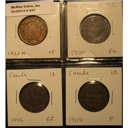 627. Lot Canada Large Cents: 1882H, 1900, 1906, & 09 grading VG-VF.