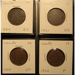 628. Lot Canada Large Cents: 1884, 1901, 1905, & 1908 grading F-EF.