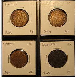 629. Lot Canada Large Cents: 1888, 1899, 1903, & 1904 grading F-EF.
