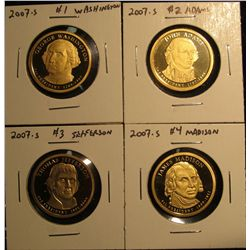 1502. Complete set of 4 2007-S Proof Presidential Dollars