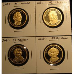 1503. Complete set of 4 2008-S Proof Presidential Dollars