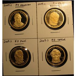 1504. Complete set of 4 2009-S Proof Presidential Dollars