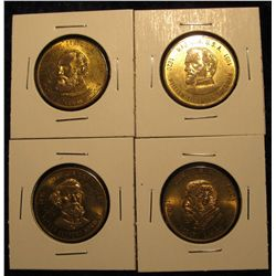 1526. 4 Brass Civil War commemorative medals featuring different generals from the Confederate Stat