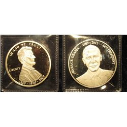 1527. 2 Presidential Medals – Abraham Lincoln & Barack Obama, both silver plated