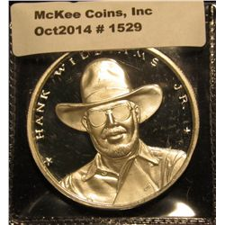 1529. Hank Williams Jr. commemorative 1 ounce .999 Fine Silver round – Official Country Super Star