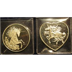 """1530. 2 silver colored rounds – """"For Someone Special"""" / Unicorn – one is round, one is heart shaped"""