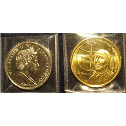 """1533. 2 Crown sized coins – 2001 Isle of Man """"Harry Potter"""" & 1997 Turks & Caicos 5 Crowns """"Mother"""