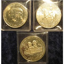 1534. 3 commemorative Crown sized coins – Great Britain 1977 Silver Jubilee, Great Britain 1981 Cha