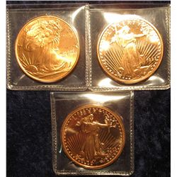 1538. Three (3) 1 ounce copper rounds all featuring a representation of full figured Liberty design