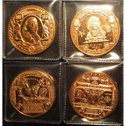 1539. Four (4) 1 ounce copper rounds all featuring designs from popular US banknote obverse designs