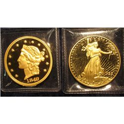 1542. 2 replica gold-plated copies of classic $20 US gold coins, the first (1849 Liberty Head) & th