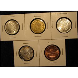 1544. 5 under-sized replica coins used as advertising pieces for various coin dealers in the US