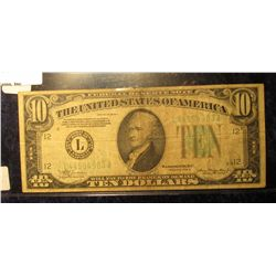 1653. Series 1934 A $10 Federal Reserve Note. VG.