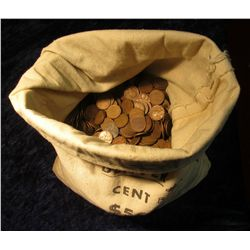 1662. Approximately 5,000 Mixed Date U.S. Wheat Cents in a cloth bag
