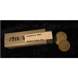 "1664. (30) 1912 P Liberty ""V"" Nickels in a square plastic coin tube. Circulated."