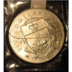 1699. 1970 Bahama Islands $5.00 Sterling Silver Uncirculated Coin, 1.2526 ozs. ASW.