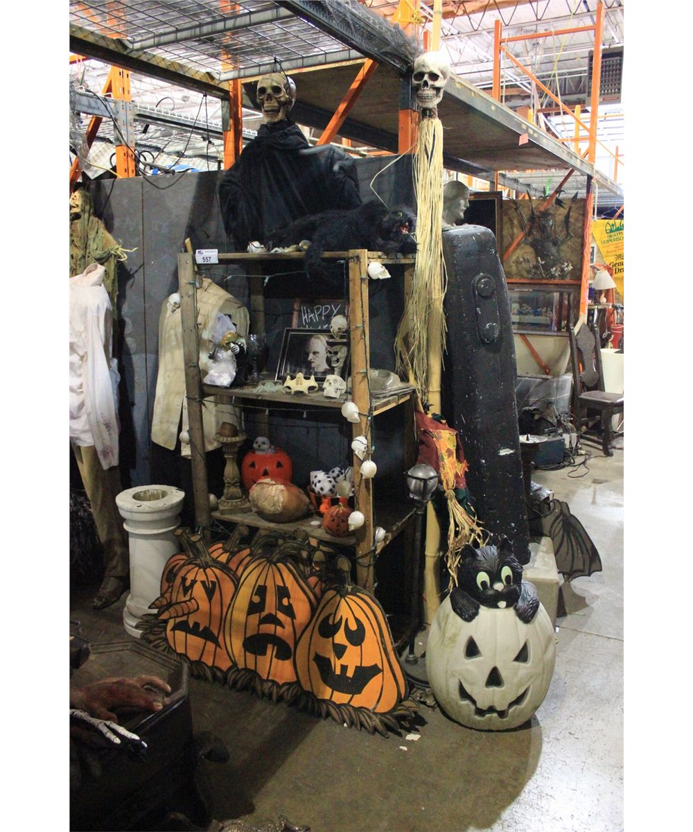 Shelf of assorted halloween decor items able auctions for Shelf decor items