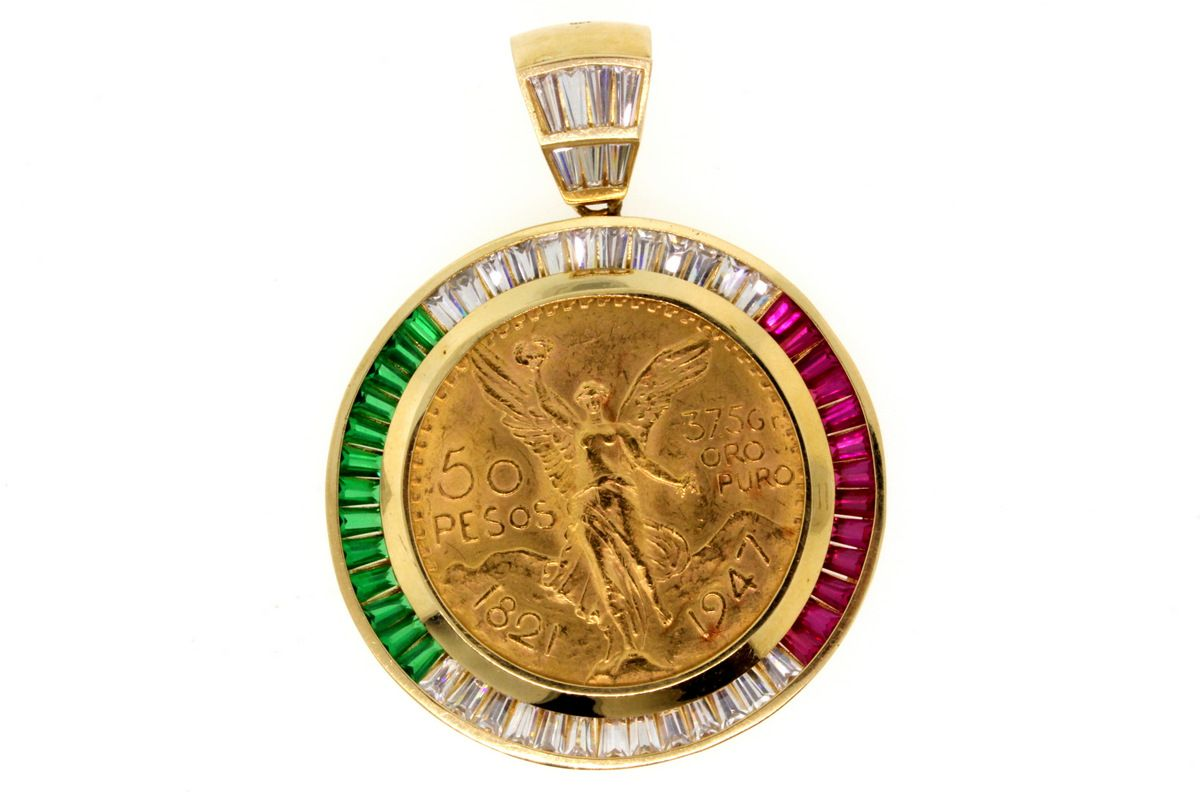Pendant 1 50 peso mexican gold coin pendant in 14kyg and image 1 pendant 1 50 peso mexican gold coin pendant in 14kyg aloadofball Gallery