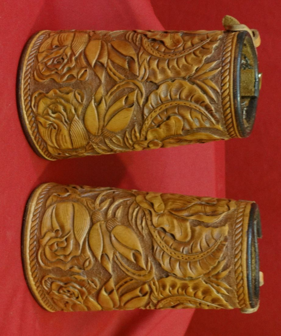 Cowboy cuffs heavy floral carved brand new