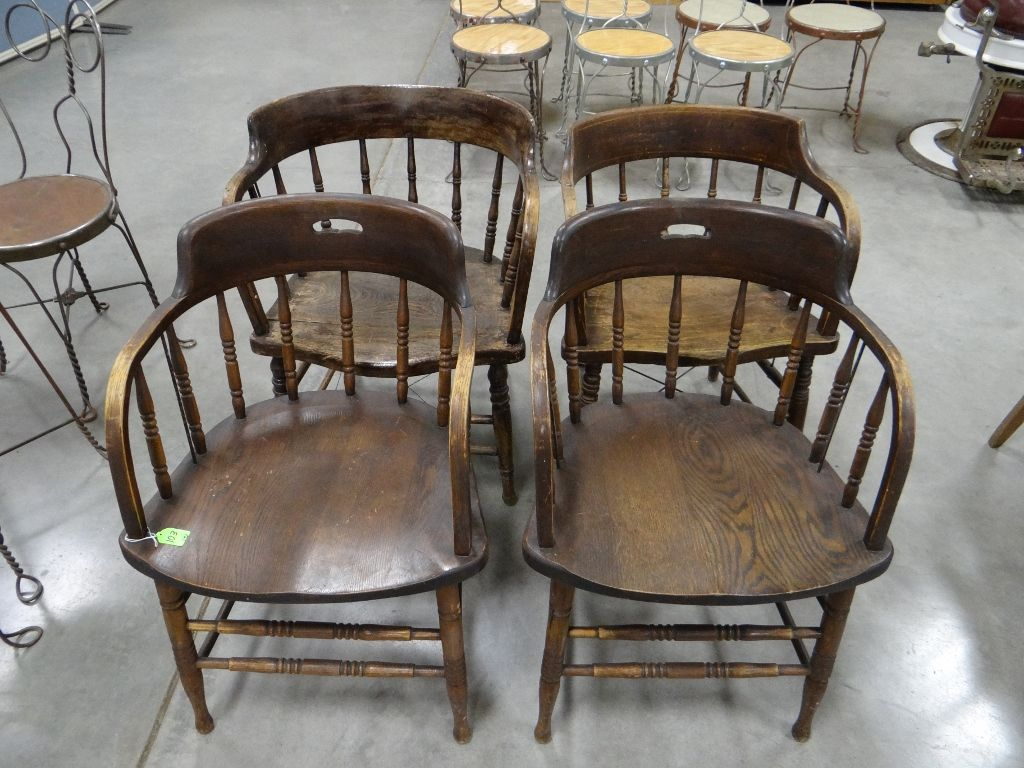 4 Oak Captains Chairs. Loading Zoom