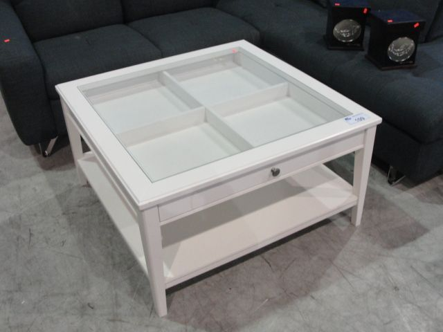 Contemporary White Glass Top Display Coffee Table Able Auctions