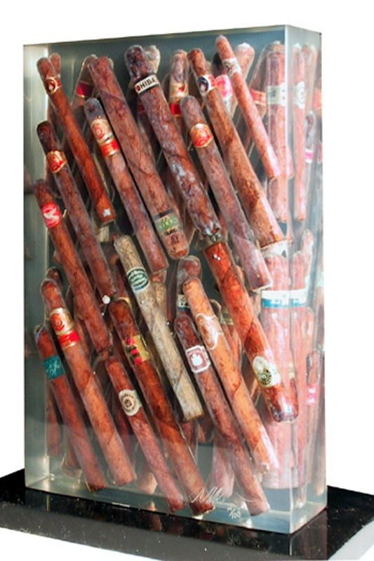 Arman Waiting To Exhale Accumulation Of Cigars In Resin Sculpture Loading Zoom