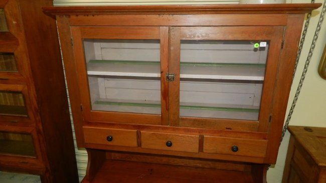 79) Antique primitive possum belly kitchen cabinet, 2